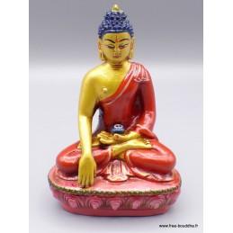 Statue Bouddha Sakyamouni résine rouge et or STABUR2