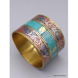 Bracelet tibétain Jonc Turquoise et mantra Bracelets pierres naturelles BRTJ1