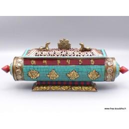 Porte encens tibétain cylindrique Biches et stupa PETBS1