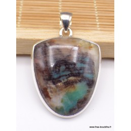 Pendentif Bois de Colla semi-oval turquoise marron Pendentifs pierres naturelles PAC16.3