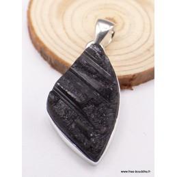 Pendentif Tourmaline noire asymétrique en argent Pendentifs pierres naturelles PAC12.3