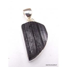 Pendentif Tourmaline noire brute asymétrique en argent Pendentifs pierres naturelles PAC12.4