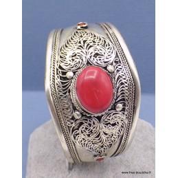 Bracelet tibétain filigrane et corail rouge Bracelets tibétains bouddhistes BRAC94