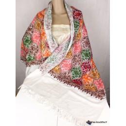 Châle laine femme écru multicolore brodé CBP14
