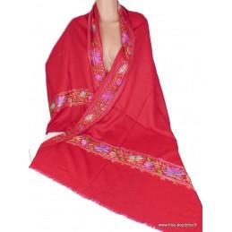 Châle femme laine rouge brodé fil et perles CBP17