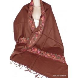 Châle femme laine marron chocolat brodé fil CBP18