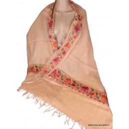 Châle femme laine beige rosé brodé fils CBP19
