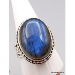 Bague ovale Labradorite bleue Style vintage Taille 64 Bagues pierres naturelles XV87.4