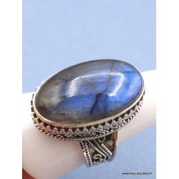 Bague ovale en Labradorite bleue Style vintage Taille 63/64 Bagues pierres naturelles XV87.5
