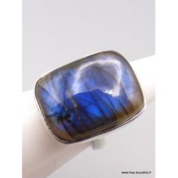 Bague Labradorite bleue rectangulaire Taille 55 Bagues pierres naturelles XV87.7