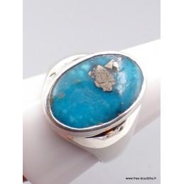 Chevalière Homme Turquoise avec pyrite Taille 66 Bagues pierres naturelles XV94