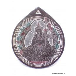 Sculpture bouddhiste sur ardoise Guru Rinpoché Décoration tibétaine SCAR9