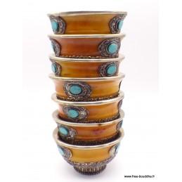 Bols d'offrandes bouddhistes en ambre style ancien BOLAMB
