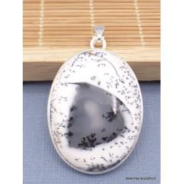 Gros pendentif Merlinite Opale dendritique oval Pendentifs pierres naturelles XV13.3