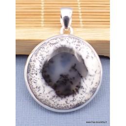 Pendentif rond en Merlinite Opale dendritique Pendentifs pierres naturelles XV13.5