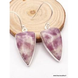 Boucles d'oreilles Tourmaline rose sur quartz triangulaires Bijoux en Tourmaline Rose WV106