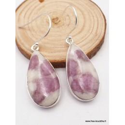 Boucles d'oreilles Tourmaline rose sur quartz forme goutte Bijoux en Tourmaline Rose WV106.1