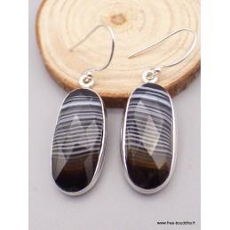 Boucles d'oreilles Agate noire à bandes facettées ovales Bijoux en Agate XV107.1