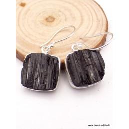 Boucles d'oreilles Tourmaline noire carrées Bijoux en Tourmaline Noire PAC27.2