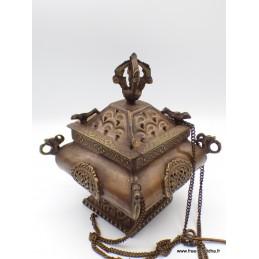 Brûleur d'encens tibétain antique pagode encensoir ANT4060