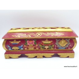 Gros porte-encens tibétain en bois avec tiroir PETBS1