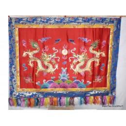 Tenture murale Dragons en soie épaisse rouge TENDRA3