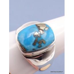 Chevalière pour Homme en Turquoise avec pyrite taille 67 Bagues pierres naturelles PAC44.3