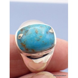 Chevalière pour Homme en Turquoise avec pyrite taille 68 Bagues pierres naturelles PAC44.7