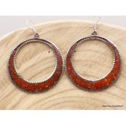 Boucles d'oreilles tibétaines créoles rouges Boucles d'oreilles tibétaines BOTCR1