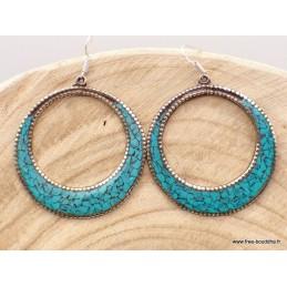 Boucles d'oreilles tibétaines créoles en turquoise Boucles d'oreilles tibétaines BOTCR2