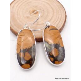 Boucles d'oreilles pendantes en Jaspe Maligano ocre noir Bijoux en Jaspe PAC66.3
