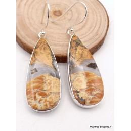 Boucles d'oreilles pendantes en Jaspe Maligano forme goutte Bijoux en Jaspe PAC66.5