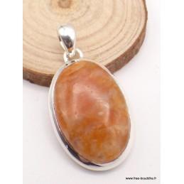Pendentif Calcite Orange forme ovale Pendentifs pierres naturelles PAC55.2
