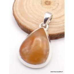 Pendentif Calcite Orange forme goutte Pendentifs pierres naturelles PAC55.3