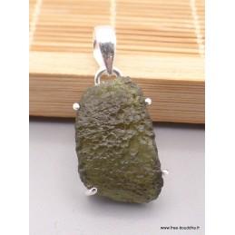 Pendentif authentique Moldavite brute serti griffes Pendentifs pierres naturelles TUV72.7