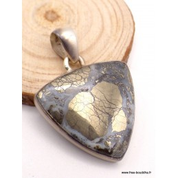 Pendentif Pyrite sur Agate triangulaire Pendentifs pierres naturelles PAC61.5