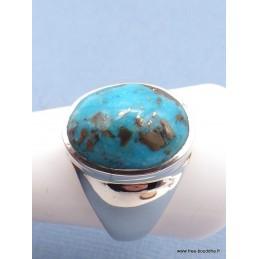 Chevalière ovale pour Homme en Turquoise avec pyrite taille 68 Bagues pierres naturelles PAC44.8