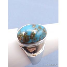 Chevalière ovale pour Homme en Turquoise avec pyrite taille 62 Bagues pierres naturelles PAC44.9