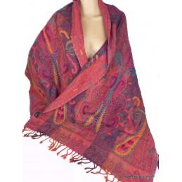 Châle femme brodé main laine Framboise mauve PK339