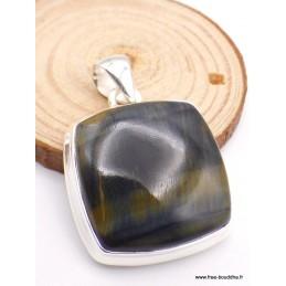 Pendentif carré en Oeil de Tigre Bleu - Oeil de faucon Pendentifs pierres naturelles TUV23.3
