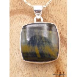 Pendentif Oeil de Tigre Bleu - Oeil de faucon carré Pendentifs pierres naturelles TUV23.4
