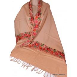Châle laine beige rosé brodé perles LJ30