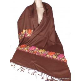 Châle en laine marron pour femme brodé perles LJ32