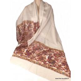 Châle ethnique laine fine Ecru motifs fleurs CHALF30