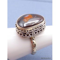 Bague argent Opale boulder rouge métallique Bagues pierres naturelles JEW55.4