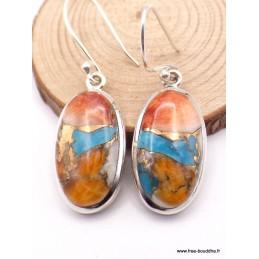 Boucles d'oreilles Turquoise Spiny Oyster ovales Boucles d'oreilles en pierres TUV50.2