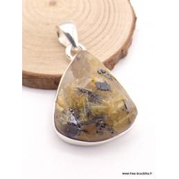 Pendentif en Quartz Rutile doré brut forme goutte Pendentifs pierres naturelles XV50.3