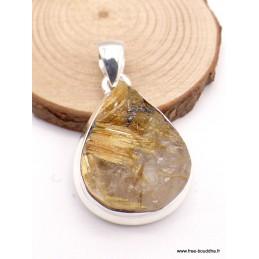 Pendentif goutte en Quartz Rutile doré brut Pendentifs pierres naturelles XV50.4