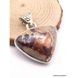 Pendentif Cuivre sur Agate forme triangle (rare) Pendentifs pierres naturelles TUV51.3