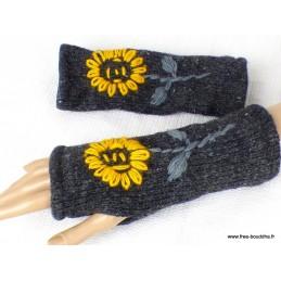 Mitaines en laine doublées polaire gris fleur jaune MIT1
